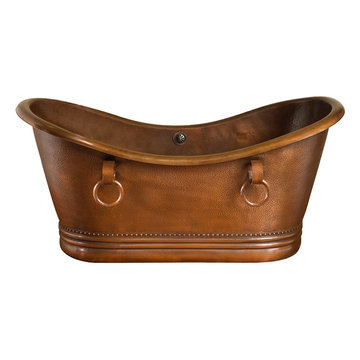 Barclay Baylis Copper Double Slipper Copper Tub With Rings - No Faucet Holes
