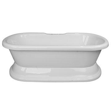 Barclay Brussels Acrylic Double Roll Tub With Base - No Faucet Holes Or Overflow
