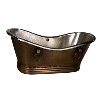 Barclay Burnham Double Slipper Copper Tub With Base - No Faucet Holes