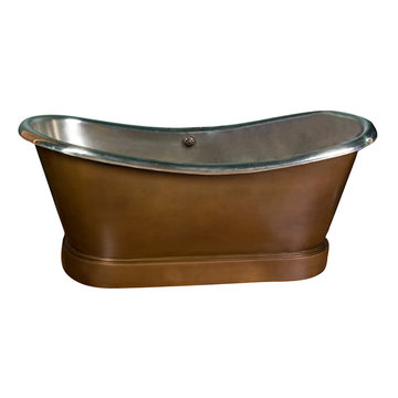 Barclay Calumet Bateau Double Slipper Copper Tub With Nickel Interior - No Faucet Holes