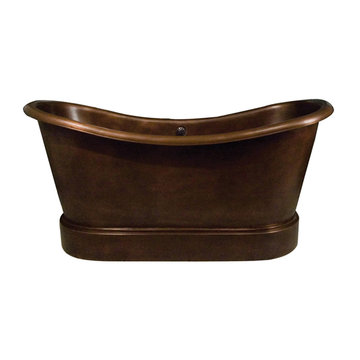 Barclay Calumet Bateau Double Slipper Smooth Copper Tub - No Faucet Holes