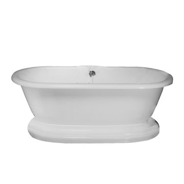 Barclay Carlotta Acrylic Double Roll Tub With Base - Tap Deck - No Faucet Holes