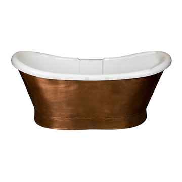 Barclay Cathay Acrylic Double Slipper Tub With Copper Skirt - No Faucet Holes