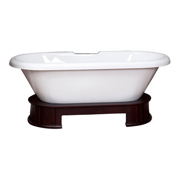 Barclay Chaucer Acrylic Double Roll Tub With Wooden Base - No Faucet Holes Or Overflow