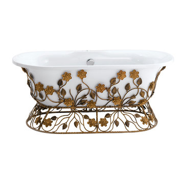 Barclay Chloe Acrylic Double Roll Tub With Iron Base - No Overflow