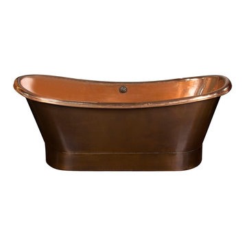 Barclay Chopin Double Slipper Copper Tub With Polished Interior - No Faucet Holes
