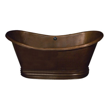 Barclay Colton Double Slipper Copper Tub With Base - No Faucet Holes