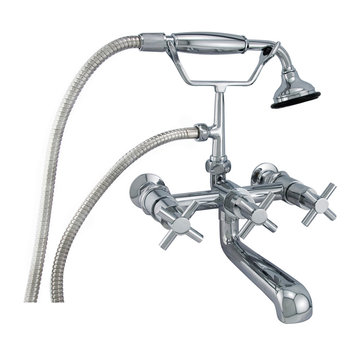 Barclay Contemporary Wall Mount Tub Faucet With Hand Shower