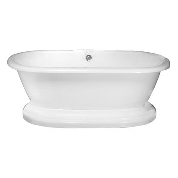 Barclay Corinne Acrylic Double Roll Tub With Base - Tap Deck - No Faucet Holes