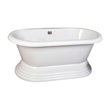 Barclay Cyprus Acrylic Double Roll Tub With Base - No Faucet Holes