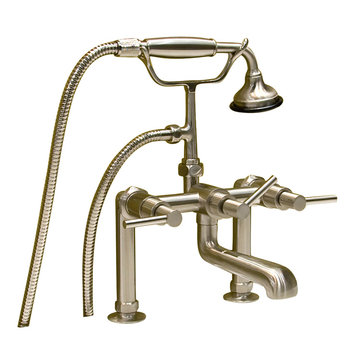 Barclay Deck Mount Tub Faucet With Hand Shower - Metal Lever