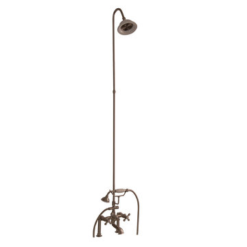 Barclay Deck Mount Tub Filler Set With Elephant Spout - Metal Cross
