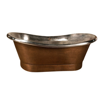 Barclay Dorinda Double Slipper Copper Tub With Base - No Faucet Holes