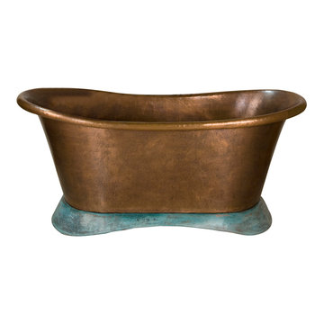 Barclay Driscol Double Slipper Copper Tub With Verdigris Base - No Faucet Holes