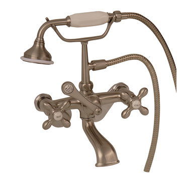 Barclay Elephant Spout Adjustable Wall Mount Faucet With Hand Shower - Metal Cross