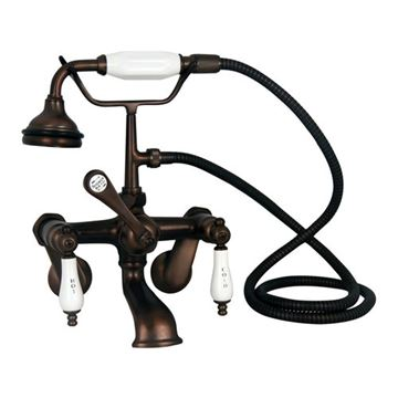 Barclay Elephant Spout Adjustable Wall Mount Faucet With Hand Shower - Porcelain Lever