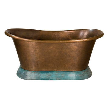 Barclay Everett Double Slipper Copper Tub With Verdigris Base - No Faucet Holes