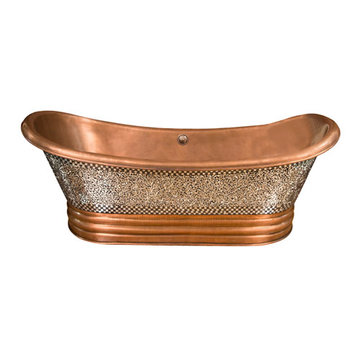 Barclay Falkner Double Slipper Copper Mosaic Tub - No Faucet Holes