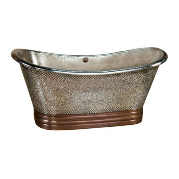 Barclay Galileo Double Slipper Copper Mosaic Tub With Base - No Faucet Holes