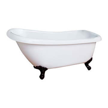 Barclay Georgette Acrylic Slipper Tub - No Faucet Holes Or Overflow