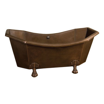 Barclay Hudson Double Slipper Hexagon Copper Tub - No Faucet Holes