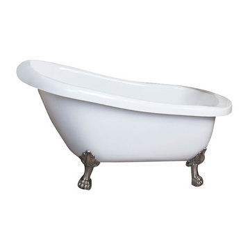 Barclay Kingston Acrylic Slipper Tub - No Faucet Holes Or Overflow