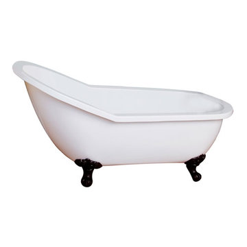 Barclay Lafayette Acrylic Slipper Tub - No Faucet Holes Or Overflow