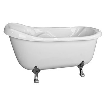 Barclay Lissette Acrylic Slipper Tub - No Faucet Holes Or Overflow