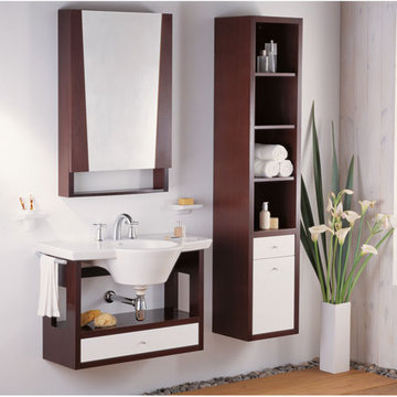 Barclay Marina Wenge With White Drawer Wall Hung Basin Cabinet For 25 1/2 Inch Basin
