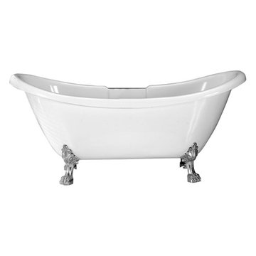 Barclay Minerva Acrylic Double Slipper Tub - No Faucet Holes Or Overflow