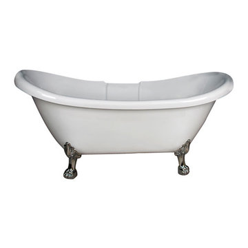Barclay Monroe Double Slipper Acrylic Tub - No Faucet Holes Or Overflow