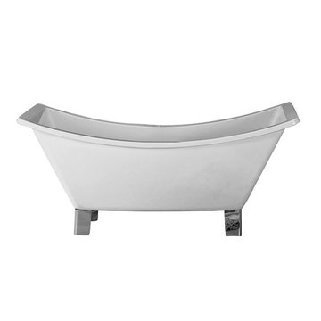 Barclay Musetta Acrylic Double Slipper Tub - No Faucet Holes Or Overflow