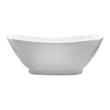 Barclay Normandy Acrylic Double Slipper Tub With Base - No Faucet Holes Or Overflow