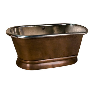 Barclay Reedley Double Roll Top Copper Tub - Tap Deck - No Faucet Holes