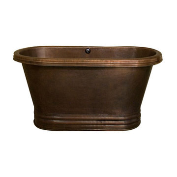 Barclay Sandoval Double Roll Top Copper Tub With Base - No Faucet Holes