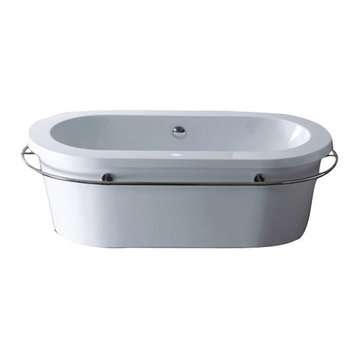 Barclay Saturn Acrylic Oval Tub With Towel Bar - No Faucet Holes