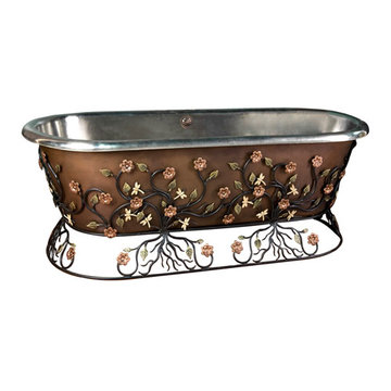 Barclay Scarlett Double Roll Top Copper Tub With Wrought Iron Stand - No Faucet Holes