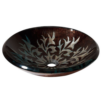 Avanity Autumn Leaf Tempered Glass Vessel Sink