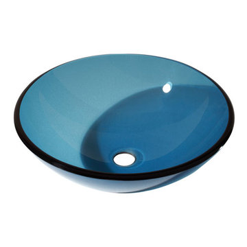 Avanity Blue Tempered Glass Vessel Sink