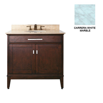 Avanity Madison 36 Inch Espresso Vanity With Carrera White Marble
