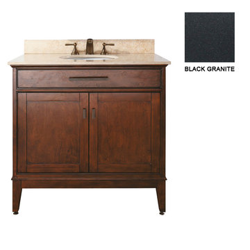 Avanity Madison 36 Inch Tobacco Vanity With Black Granite