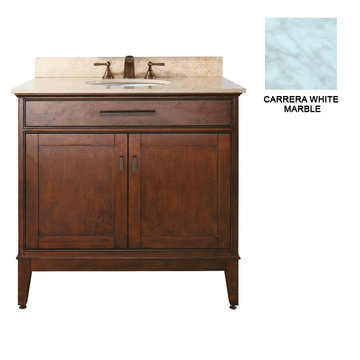Avanity Madison 36 Inch Tobacco Vanity With Carrera White Marble
