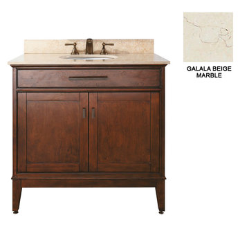 Avanity Madison 36 Inch Tobacco Vanity With Galala Beige Marble