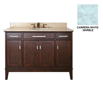Avanity Madison 48 Inch Espresso Vanity With Carrera White Marble