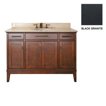Avanity Madison 48 Inch Tobacco Vanity With Black Granite