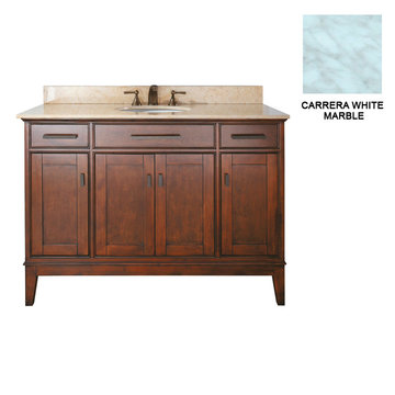 Avanity Madison 48 Inch Tobacco Vanity With Carrera White Marble