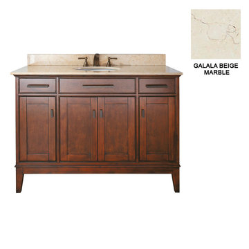 Avanity Madison 48 Inch Tobacco Vanity With Galala Beige Marble
