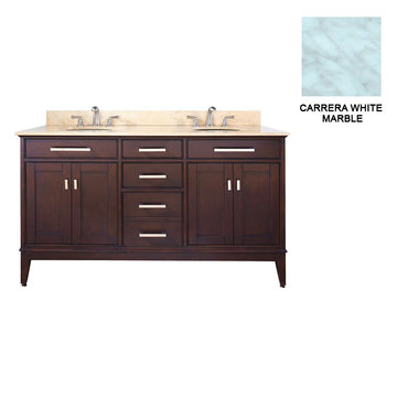 Avanity Madison 60 Inch Espresso Vanity With Carrera White Marble