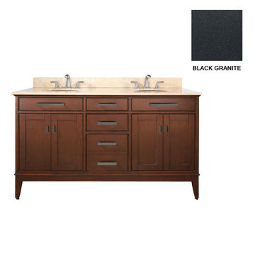 Avanity Madison 60 Inch Tobacco Vanity With Black Granite
