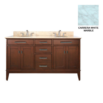 Avanity Madison 60 Inch Tobacco Vanity With Carrera White Marble